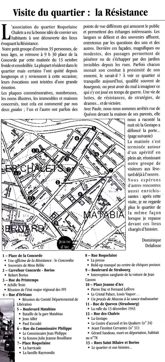 La Résistance dans le quartier - visite de 13/10/2013 - Gazette des Chalets n°76