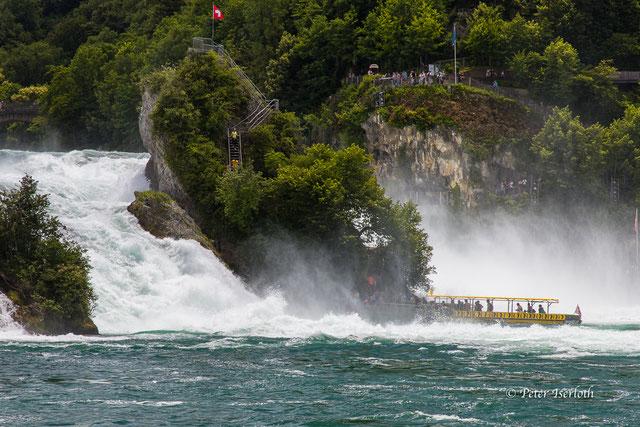 Der Rheinfall bei Schaffhausen ist einer der größten Wasserfälle in Europa, zu sehen ist ein Touristenboot direkt vor dem Wasserfall, in der Gischt des Wasserfalls.