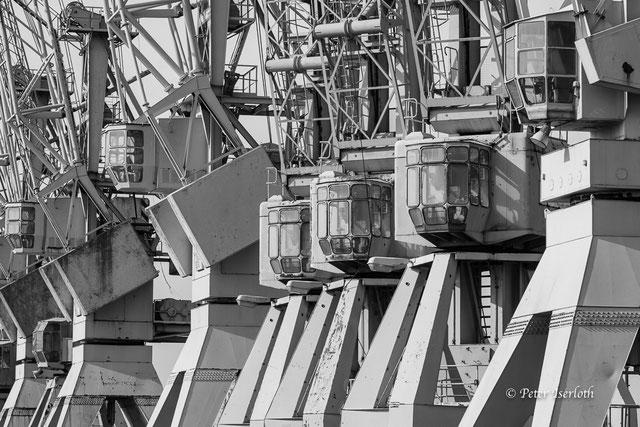 Krankanzeln im Museumshafen Hamburg, durch ein Teleobjektiv ist die Perspektive verdichtet. Das Bild zeigt sechs Kanzeln in einer Reihe.