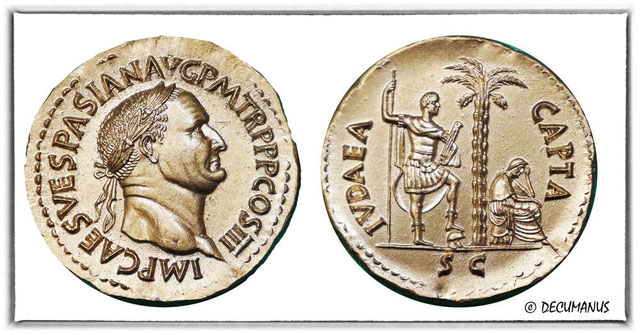 """Titus détruit Jérusalem et son magnifique Temple en 70 ap J-C. Une nouvelle pièce de monnaie est émise pour l'occasion. Une femme en pleurs, assise à l'ombre d'un palmier, dominée par la silhouette d'un légionnaire,  """"Judaea capta"""" , la Judée conquise."""
