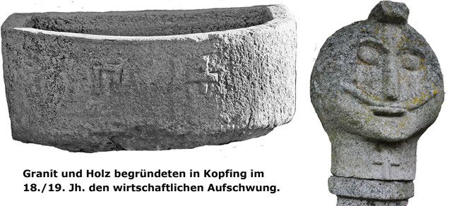 """Land- und Forstwirtschaft einschl. Handel mit """"Landesprodukten"""" sowie die Nutzung des Granits durch Steinhauer standen neben der Arbeit der """"Störhandwerker"""" am Beginn der wirtschaftlichen Entwicklung in der Region."""