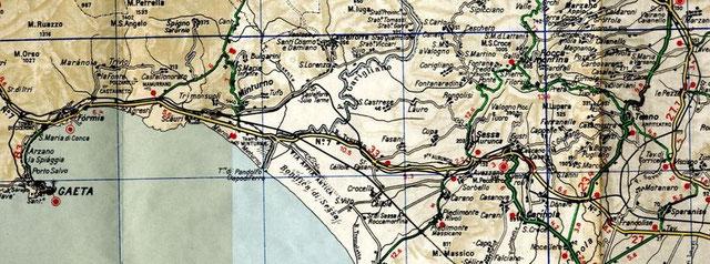 Mappa del Tracciato ferroviario Sparanise - Gaeta