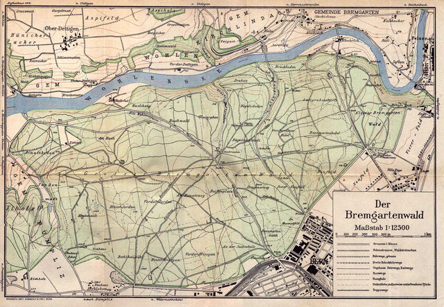 alte Karte des Bremgartenwaldes, noch ohne die Autobahn, die den Wald heute zerschneidet.