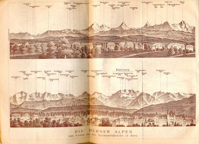 Die Berner Alpen - vom Kasino bei der Kirchenfeldbrücke in Bern - aus: Baedekers Schweiz, Leipzig 1913.