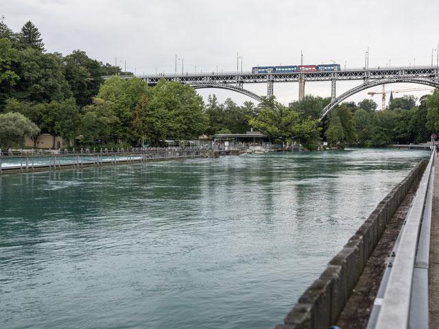 Aare mit Schwellenmätteli, von der Matte zum Marzili (Fuji GFX 50s 63, 15. 8. 2017).