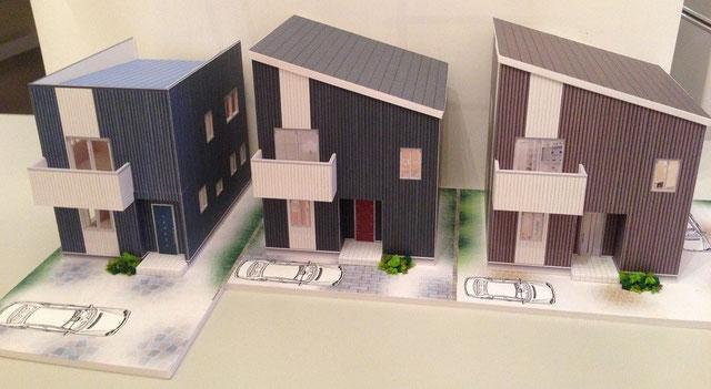 3棟建ての 戸建賃貸住宅の模型事例です。