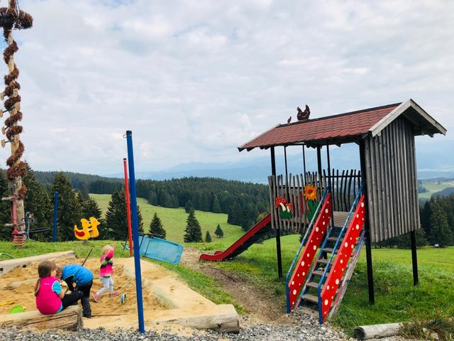 Alpe mit Spielplatz für Kinder im Allgäu