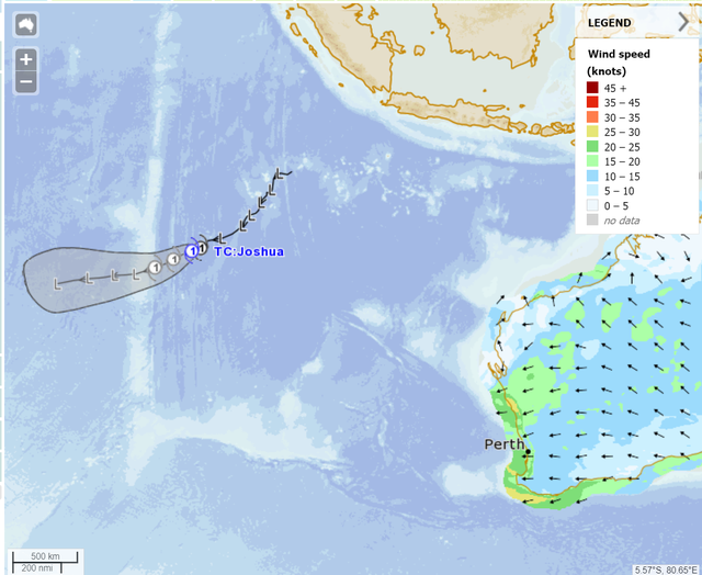 Modelled track map of TC Joshua 17/01/2021. From meteye, http://www.bom.gov.au/australia/meteye/