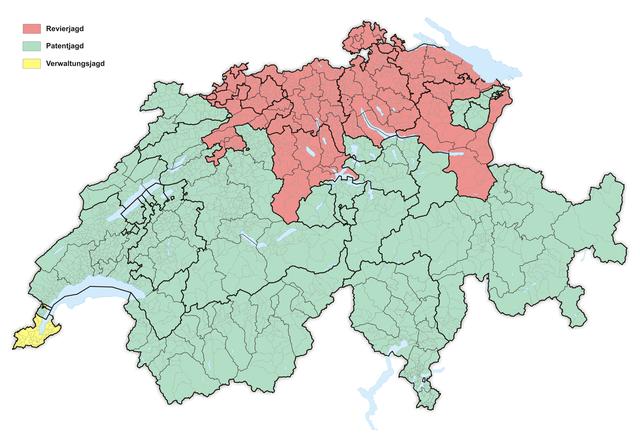 """""""Karte Jagdrecht Schweiz 2016"""" von Tschubby - Eigenes Werk. Lizenziert unter CC BY-SA 3.0 über Wikimedia Commons"""