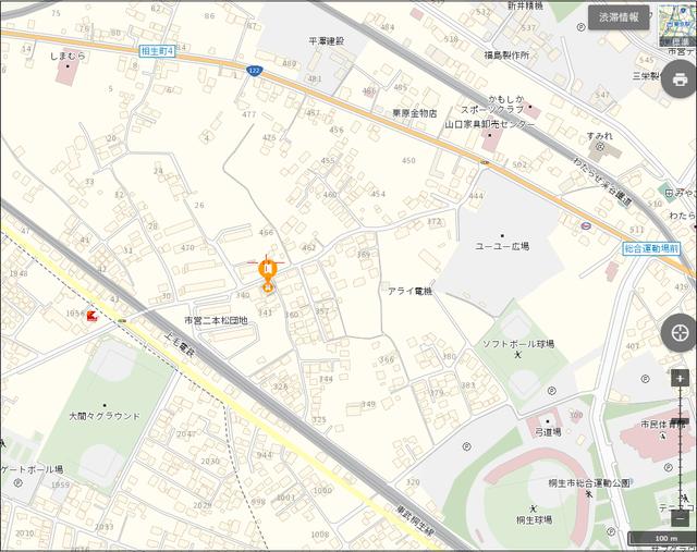 月極貸し駐車場 桐生市相生町3-341-5 地図