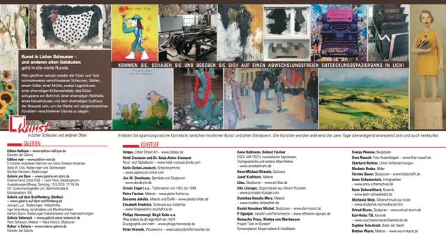 """Rückseite Flyer """"Kunst in Licher Scheunen 2016"""""""