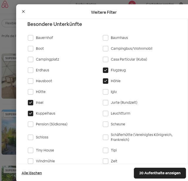 Filter Möglichkeiten von Airbnb