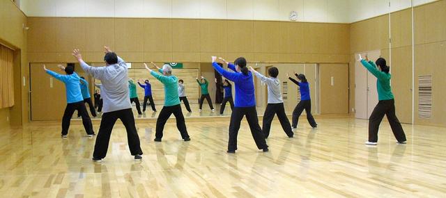 伝統太極拳の練習を行う会員達の写真