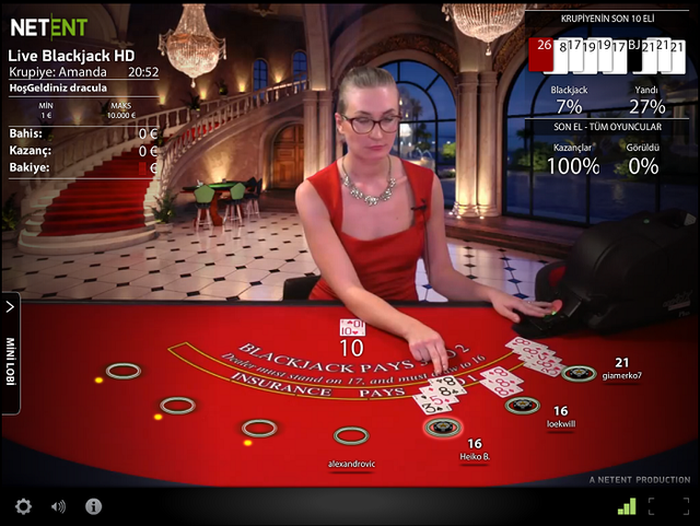 Netent Canlı HD Blackjack