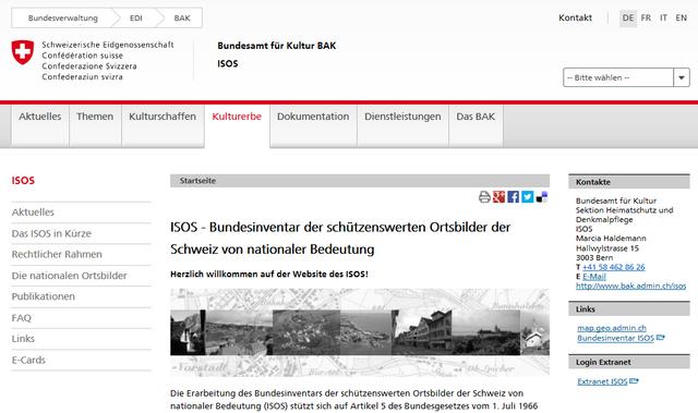 Web-Seite des Bundes zum ISOS