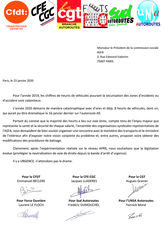 ASFA, syndicat SUD Autoroutes APRR