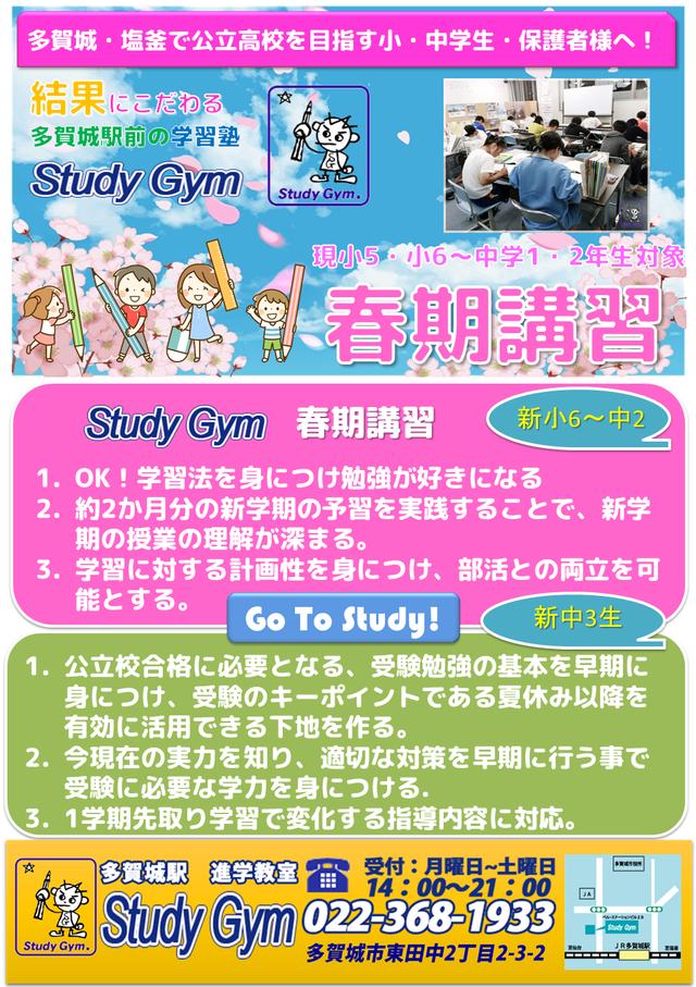 2020 多賀城・塩釜 小学生・中学生 春期講習チラシ