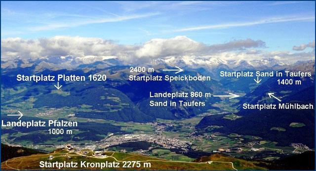 Bruneck im Pustertal, Start und Landeplätze: Kronplatz, Pfalzen, Gais und Sand in Taufers