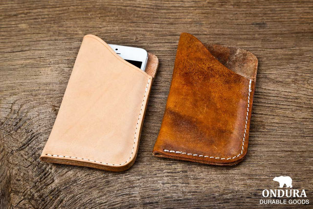 Natural vegetal tanned leather aging process after several months.
