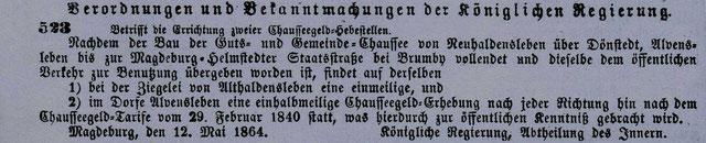 Abbildung aus dem Amtsblatt Nr. 22 der Königlichen Regierung vom 28.5.1864
