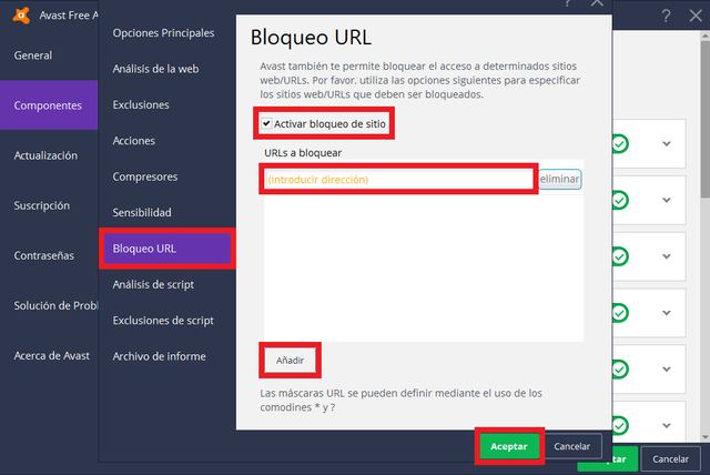 Bloquear paginas web URLs con Avast Free Antivirus 2017