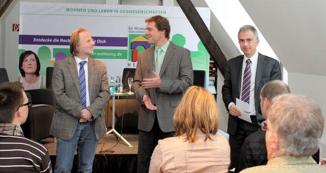 Kooperation der Wohnungsbaugenossenschaften in Frankfurt - Bürgermeister Olaf Cunitz, Ulrich Tokarski und OB Peter Feldmann © dokubild.de