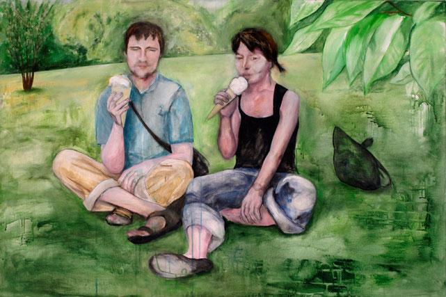 Sandra und Markus, Acryl auf Baumwollgewebe, 2011