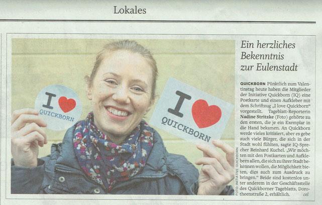 Ein positive Resonanz fand unsere Aktion bei der Lokalpresse: Das Quickborner Tageblatt berichtete über unsere neue Postkarte und den Aufkleber