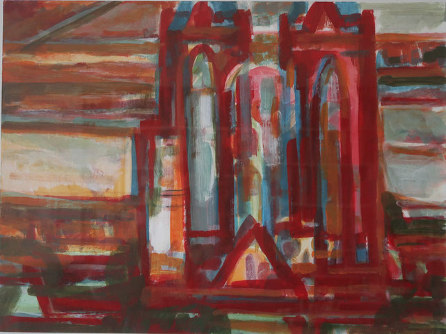 Elisabethkirche 30x45, Acryl auf Papier 2015