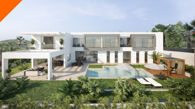 Montaje render 3D exterior arquitectura residencial. Proyecto Aviva by Quabit, Guadalajara