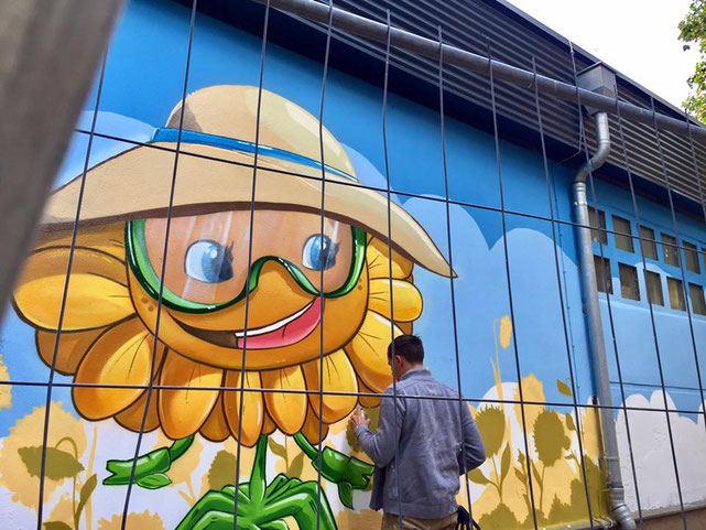 Fassadenmalerei im Kindergarten