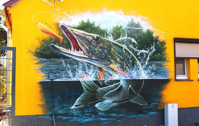 Seelos graffiti malerei als Angler Motiv