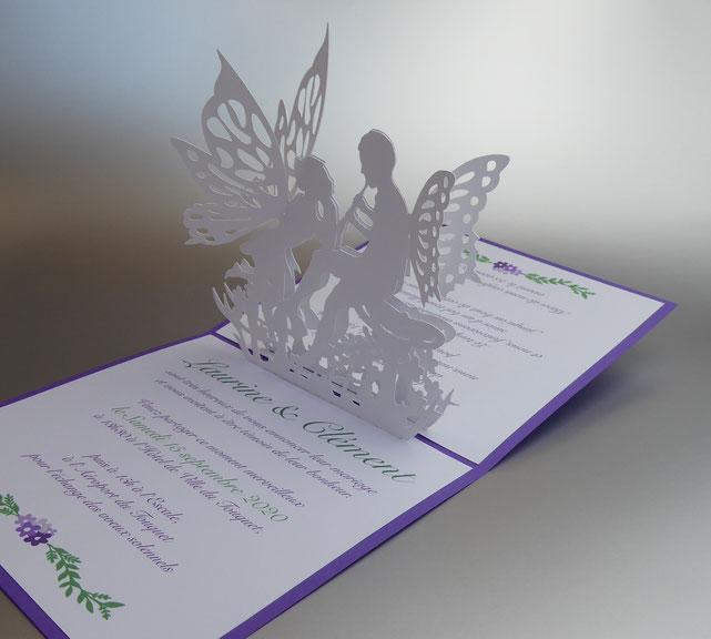Faire-part 3D mariage féérique, faire-part mariage pop-up féerique