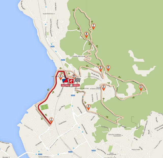 il 2° km del tracciato della corsa