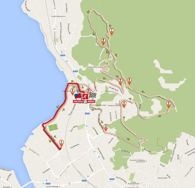 il 1° km del tracciato della corsa