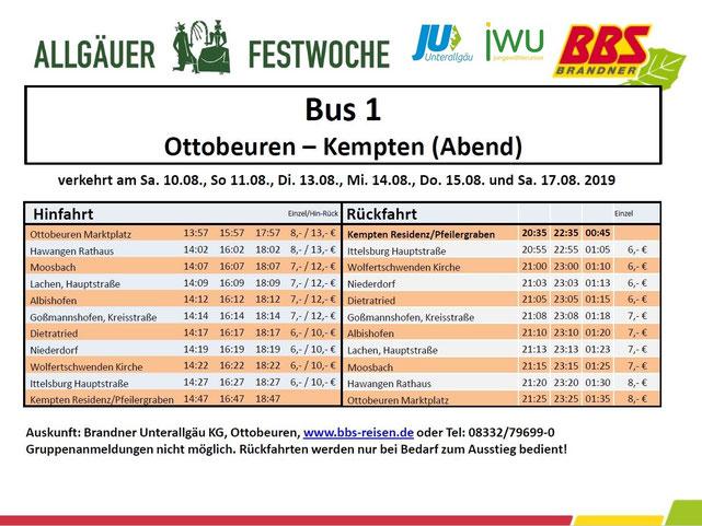 Shuttlebus Festwoche 2019 Ottobeuren Kempten Abend