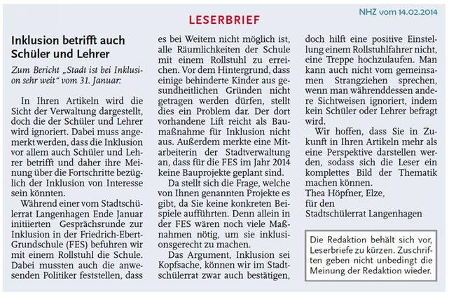 Leserbrief vom 14.04.2014, Thea Höpfner