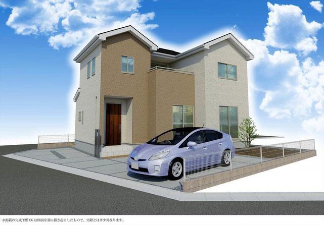 岡山市中区今在家の新築 一戸建て 分譲住宅の外観 完成予想パース図