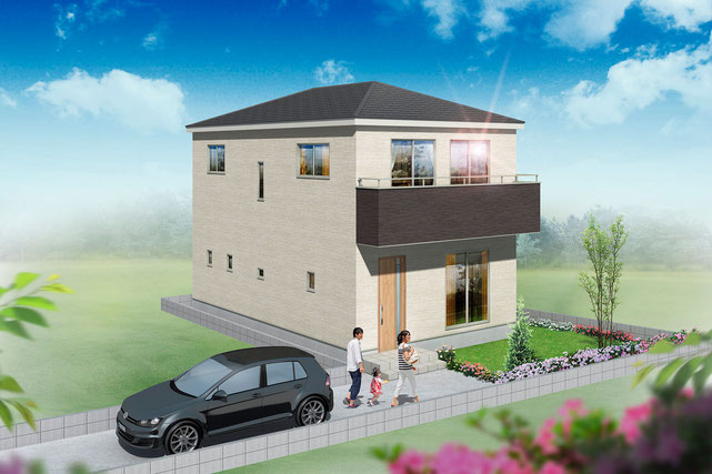 岡山県岡山市中区さい東町の新築 一戸建て 分譲住宅の外観写真