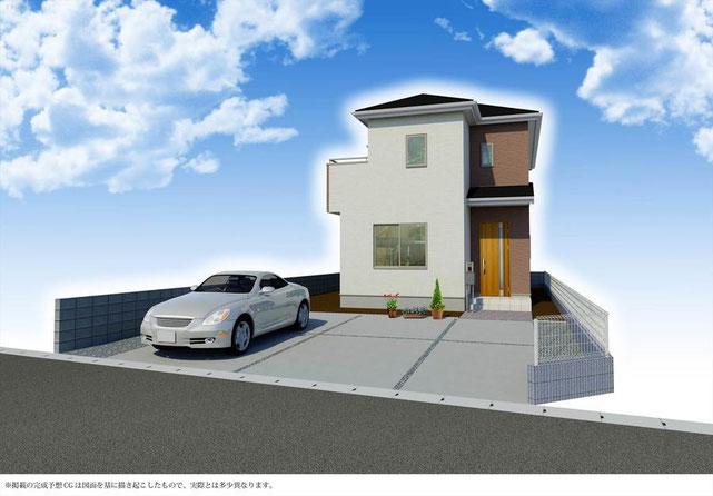 岡山市北区撫川の新築 一戸建て 分譲住宅の外観 完成予定パーズ画