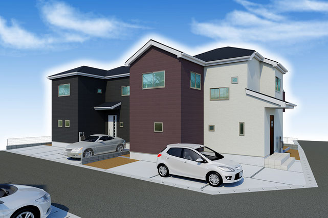 岡山県倉敷市西阿知町の新築 一戸建て 分譲住宅の外観写真