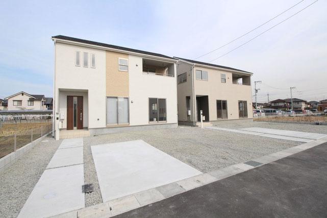 岡山県倉敷市連島町鶴新田の新築 一戸建て 分譲住宅の外観写真