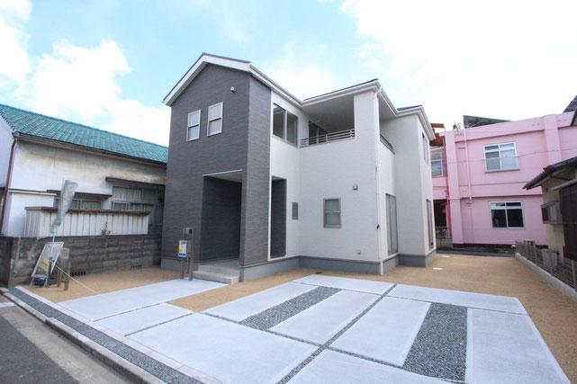 岡山県倉敷市水島南亀島町の新築 一戸建て 分譲住宅の外観写真