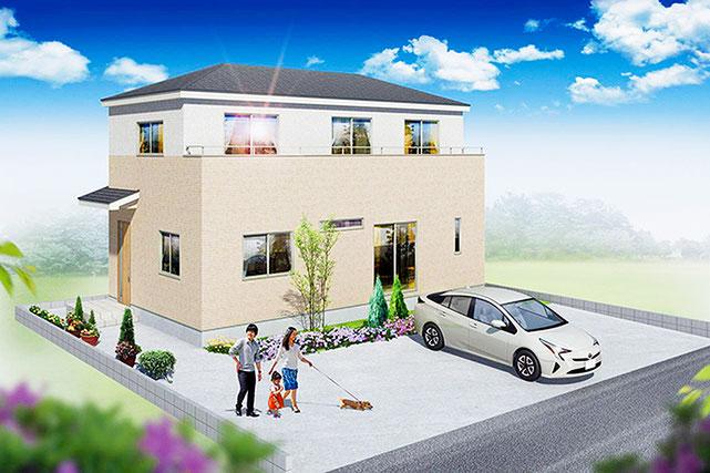 岡山県玉野市東紅陽台の新築 一戸建て 分譲住宅の外観写真