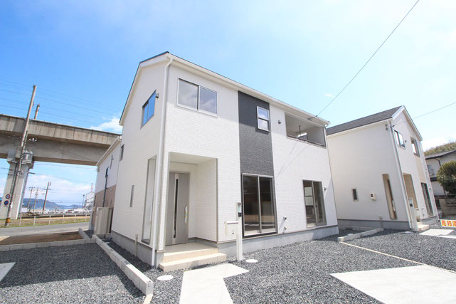 岡山県倉敷市児島阿津の新築 一戸建て 分譲住宅の外観写真