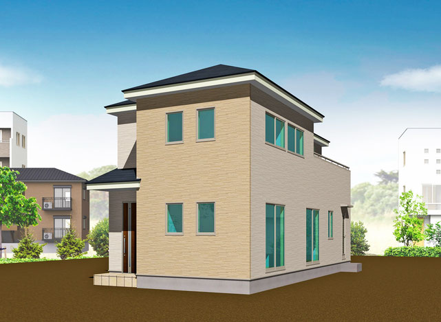 岡山市中区中井の新築 一戸建て 分譲住宅の外観写真
