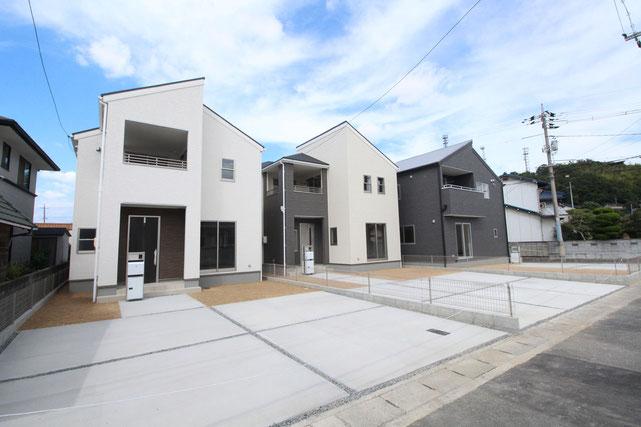 岡山県倉敷市玉島勇崎の新築 一戸建て 分譲住宅の外観写真