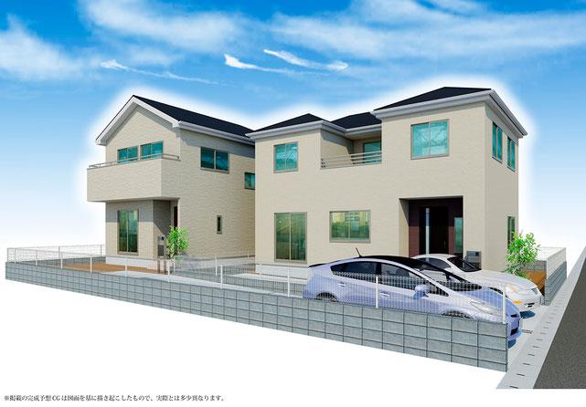 岡山市中区国富の新築 一戸建て 分譲住宅の外観写真