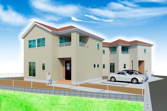 岡山県倉敷市上富井の新築 一戸建て 分譲住宅の外観写真