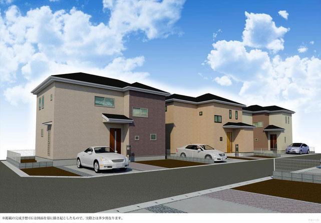 岡山市中区湊の新築 一戸建て 分譲住宅の外観 完成予想図